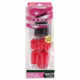 Nadeco French Artificial Soft Metal Nail Art Tips-Press on Manicure Reddish Pink
